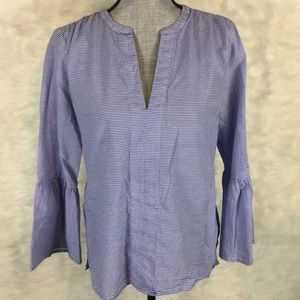 Ann Taylor Bell Sleeve Blouse Top Striped Career